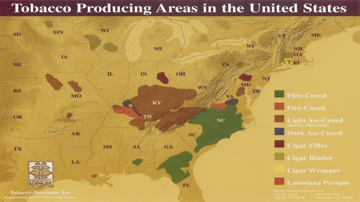 Tobacco Growing Regions chart