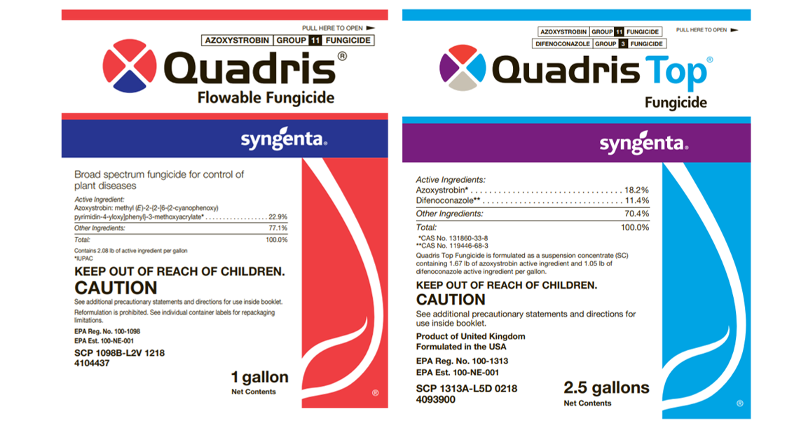 Quadris Flowable and Quadris Top fungicide labels